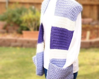 Knitting Pattern for Scarf with Pockets, Easy to Knit Pattern for Scarf, Knit Scarf Pattern, Striped Knit Scarf Design, Gift to Knit