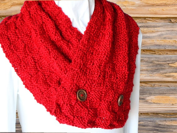 Knit Scarf Pattern With Buttons Knitting Pattern For Scarf Etsy