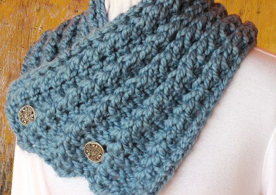 Knit Cowl Pattern With Button Chunky Yarn Scarf Patterns Etsy Stunning Chunky Knit Scarf Pattern