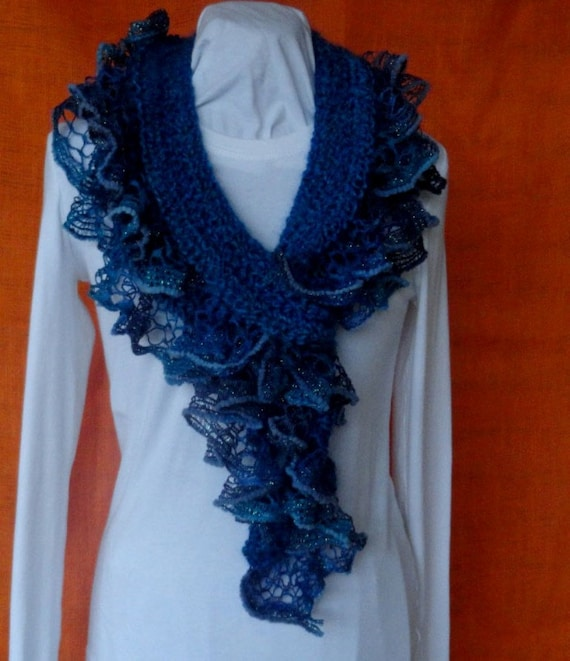 Crochet Scarf Pattern Crochet Scarf With Ruffle Yarn Edging Etsy