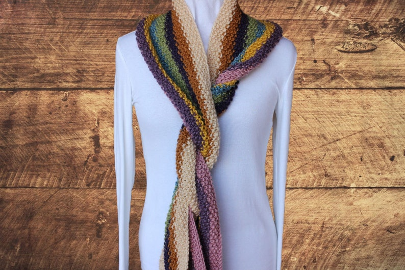 Striped Knit Scarf Pattern Easy to Knit Scarves Super ...