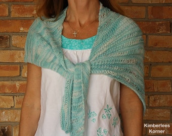 Knit Shawl Pattern, Easy to Knit Pattern for Shawl, Knitting Patterns for Scarves, Asymmetrical Knitted River Wrap Design