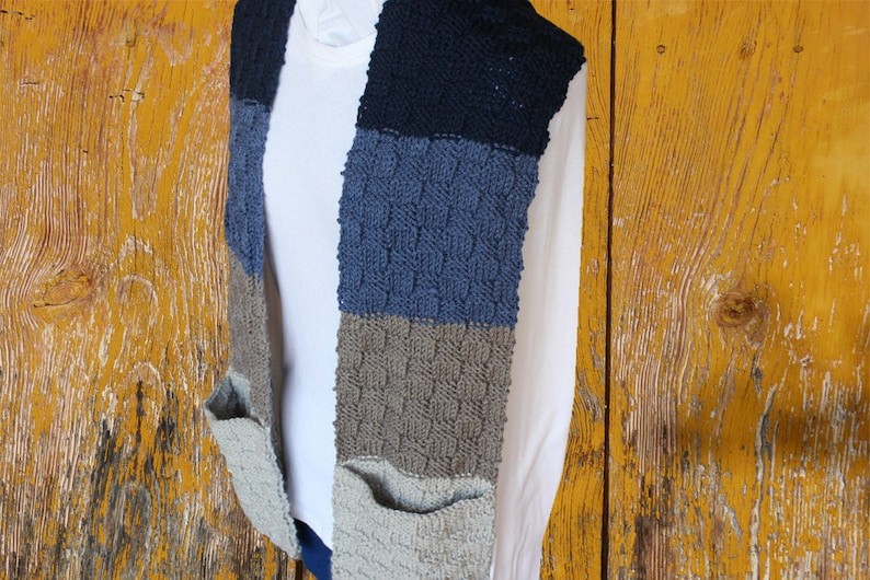 Knitting Pattern For Scarf With Pockets Easy To Knit Etsy