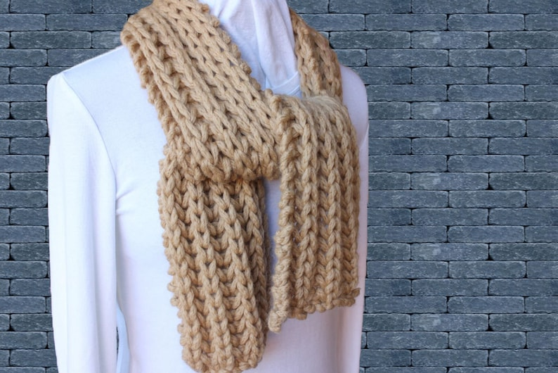 Chunky Knitted Scarf Pattern Easy To Knit Scarves Chunky Etsy