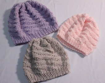 Knitting Pattern for Baby Hat, Baby Hat Knit in Round using Circular Knitting Needles, Textured Baby Hat Pattern