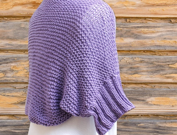 Knit Shrug Pattern, Cotton Knitted Shrug with Ribbed Sleeves, Easy ...