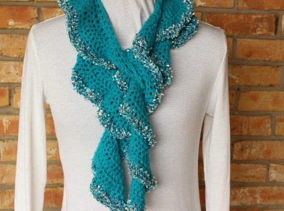 Crochet Pattern For Scarf Ruffle Scarf Crochet Pattern Etsy