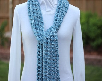 Light Blue Scarf, Blue Hand Knit Scarves, Chunky Light Blue Knit Scarf, Chunky Knitted Scarf, Soft Blue Scarves, Gift Idea for Her