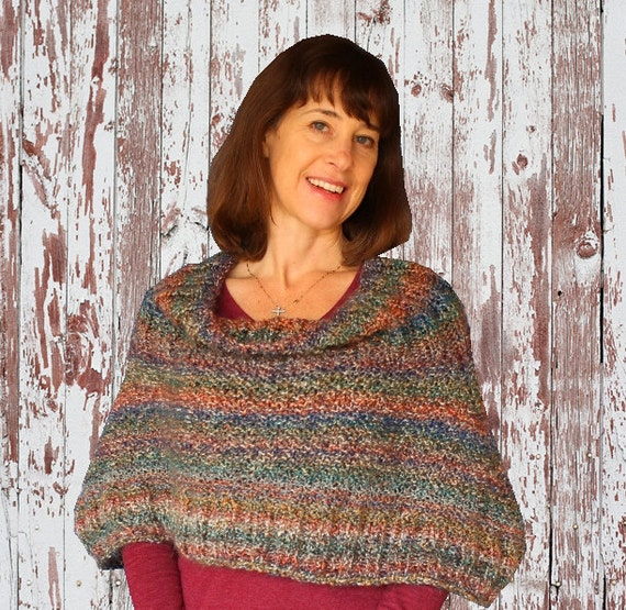 Knit Poncho Pattern Knitted Wrap Patterns Easy Knit Cape Etsy