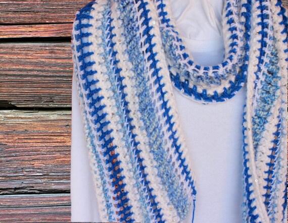 Easy To Crochet Scarf Pattern Striped Crochet Scarf Pattern Etsy