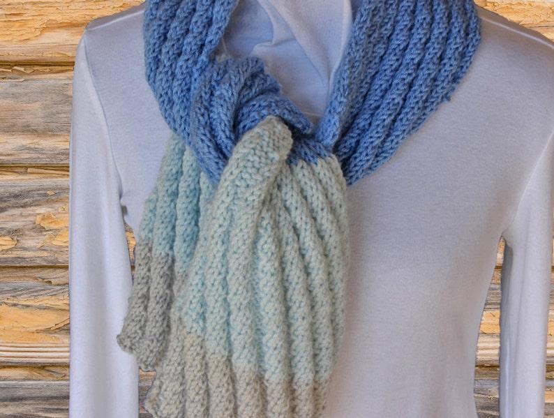 Striped Knit Scarf Pattern Knitting Pattern For Scarf Etsy
