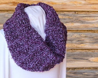 Purple Cowl, Chunky Knitted Cowl, Purple Scarves, Soft Chunky Hand Knit Cowl, Infinity Scarves, Gift for Her