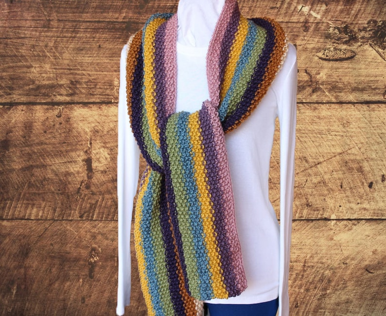 Striped Knit Scarf Pattern Easy To Knit Scarves Super Scarf Etsy
