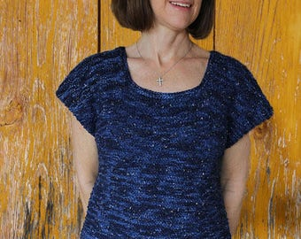 Knitting Patterns for Sweater, Dashes Knit Sweater Design, Knit Sweater Pattern for Spring, Short Sleeve Knit Sweater Tutorial