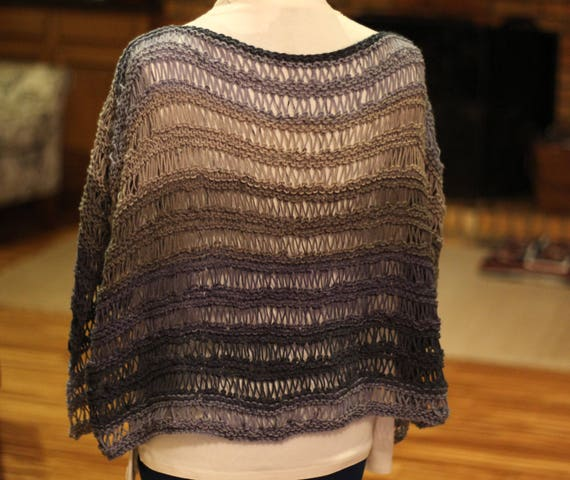 Knit Poncho Pattern, Knitted Cape Pattern, Easy to Knit Poncho ...
