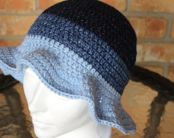 Easy to Crochet Hat Pattern, Crocheted Hat Pattern with Brim, Hat Pattern for Lion Jeans Yarn, 3 Color Hat Pattern