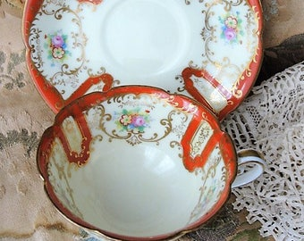 LOVELY Vintage NORITAKE Tea Cup and Saucer Hand Painted Flowers Very Decorative Cup and Saucer Bridal Luncheons Showers ,Tea Parties
