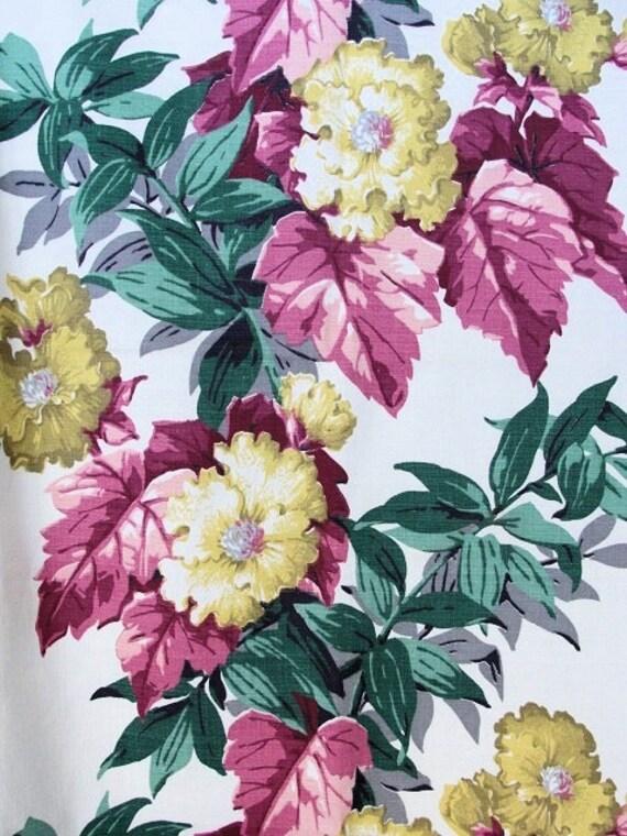 Vintage barkcloth fabricbeautiful flowers etsy image 0 mightylinksfo