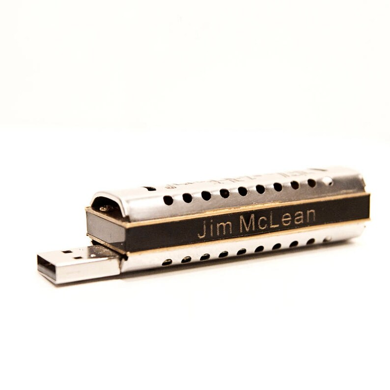 Tiny Harmonica USB drive w video lessons  Personalized  8GB image 0