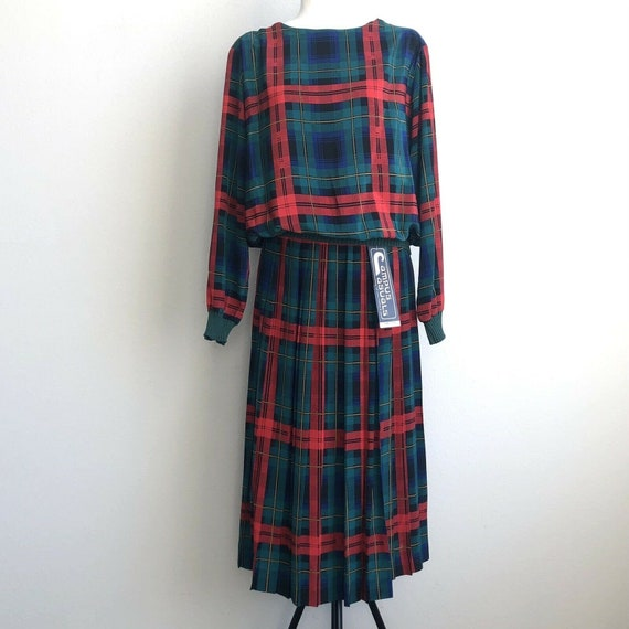 Vintage 70s Campus Casuals Red Plaid Wrap Skirt To