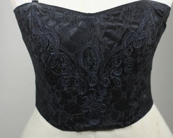 Vintage Gold Label Victoria's Secret Black Satin and Lace with Bead Embellishment Corset Top Size Small