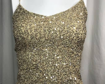 84bbe91a733 Vintage Gold Shiny Sequin Tank