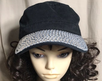 a3cfa6e52203c Black Distressed Cadet Cap / Hat with clear Craft Rhinestone Embellished  Bill Adult One Size