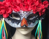 Rhinestone or Faux Pearl Embellished Masquerade half mask, Dia de los Muertos (Day of the Dead) inspired