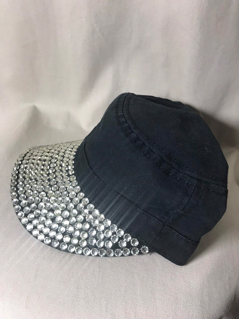 64d90de113770 Distressed Black Cadet Cap / Hat with clear Resin Rhinestone | Etsy