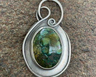 Silver Turquise Matrix Pendant on Leather Cord