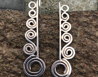 Silver Spiral Earrings (Cascading)