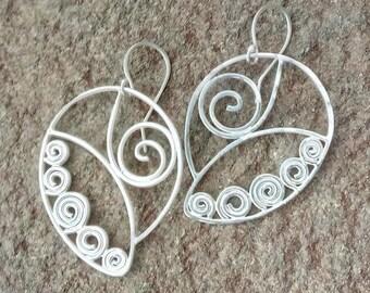 Sterling Silver Wire Earrings (Peace Leaf)