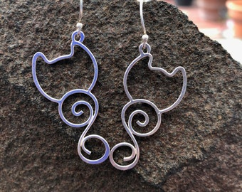 Silver Wire Earrings (Kitty Swish)