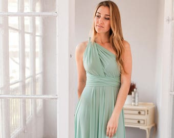 Sage green bridesmaid dress, Sage green infinity dress, Long sage green dress, Dusty shale bridesmaid dresses, Dusty shale dress, Sage dress