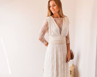Lace wedding dress with sleeves, long sleeve infinity dress, standard size lace wedding dress, ivory lace wedding dress, lace bridal gown