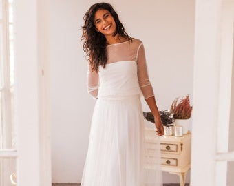 Polka dots wedding dress, bridal gown, polka dots tulle, wedding dress, dotted wedding dress, swiss dot wedding dress, long sleeve bridal