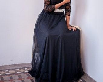 Black tulle skirt, long tulle skirt, tulle maxi skirt, tutu, long black skirt, party outfit, new years eve, soft tulle flowing elegant skirt