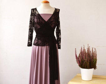 Dusty pink lace dress, romantic long dress, vintage style prom dress, feminine convertible dress, long sleeve dress, bridesmaid lace dresses