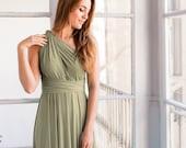 Moss green infinity dress, long light green dress, Light khaki green dress, Olive green bridesmaid dresses, Light olive infinity dress