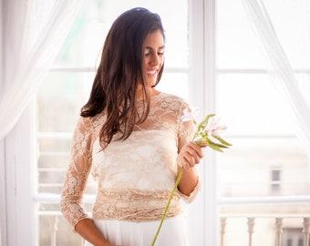 Lace wedding bolero, Lace wedding top, Lace shrug wedding, Wedding top Extra Large, Wedding boleros plus size, Plus size wedding top lace