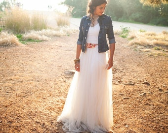 Top and skirt wedding dress, Flowing tulle wedding dress, Cap sleeve wedding dress, Wedding dress pieces, Dainty wedding dress tulle top