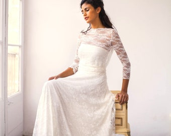 Vintage wedding dress for boho bride romantic bridal gown, lace wedding dresses, vintage style wedding dress, long sleeve lace wedding dress