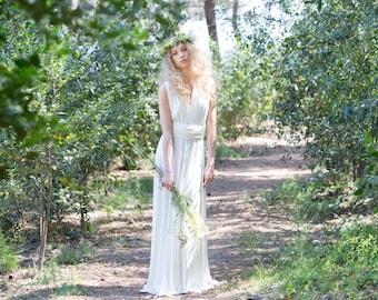 Ready to ship - Rustic wedding dress, woodland wedding dress, bohemian bridal gowns, ivory bridal gown, country dress, halter wedding dress