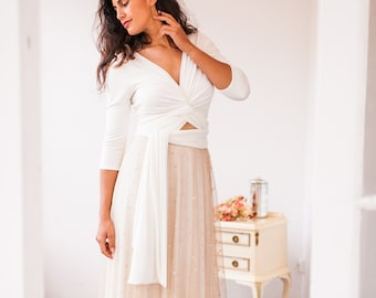 Beige Tulle Polka dot A-line Wrap Wedding Dress with Three quarter Sleeve and Deep V-neck