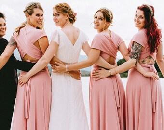 Blush bridesmaid dress, blush pink bridesmaid dress, long powder pink dress, long pink dress, light pink maxi dress, blush pink bridesmaids