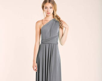 SALE Silver Grey Infinity Dress, Long Infinity Dress, Wedding Guest Dress, Gray  Dress For Wedding Guest, Gray Long Dress, Seconds Clearence