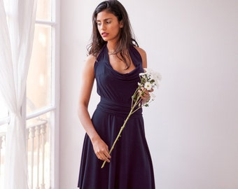 Navy bridesmaid dress, navy blue wrap dress, long sleeve dress, long sleeve bridesmaid dress, blue bridesmaid dress, short bridesmaid dress