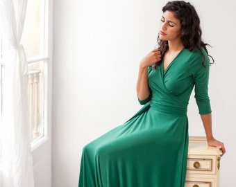 Mother of the bride dress, long green wrap dress,  long multi way dress with sleeve, dark green long sleeve dress, long green evening dress