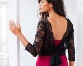 Lace wrap top, black lace bolero, bridesmaid bolero, sheer lace shrug, wrap shrug, black lace shrug, lace jacket, convertible wrap, wedding