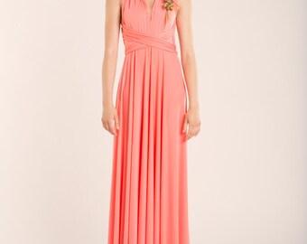 lange jurk koraal